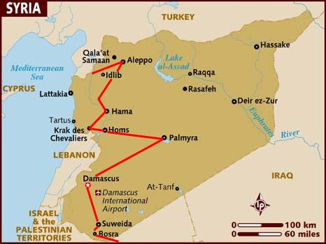 Turkey,Syria & Jordan Tour Map